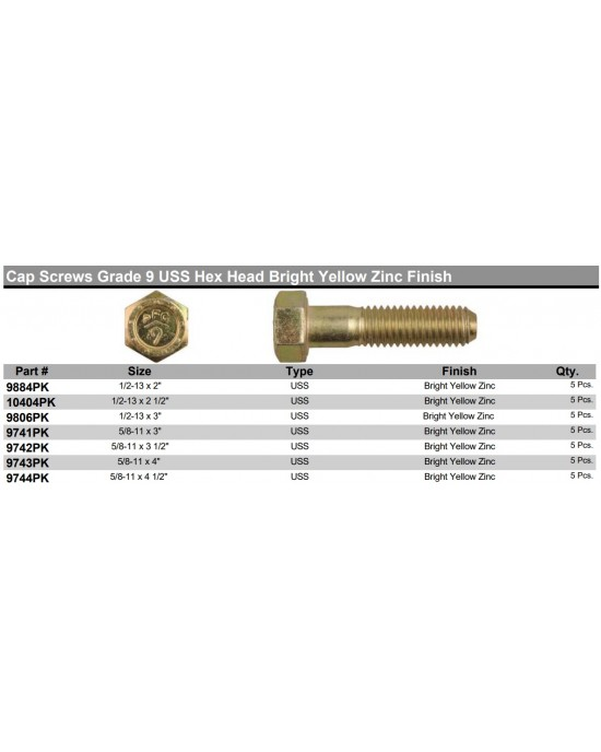 Cap Screws Grade 9 USS Hex Head Bright Yellow Zinc Finish